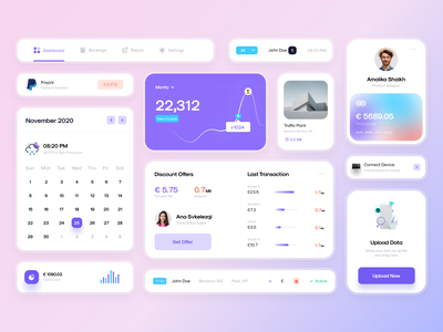 😇 Dashboard Card - UI Components card flat web mobile icon digital bar menu illustration button website navigation form app template design kit element dashboard page