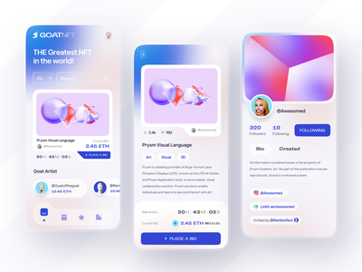 Goat NFT Marketplace App Design bid nft design ux ui home detail clean trade safety bidding investment payment fungible token etherum bitcoin money marketplace profile