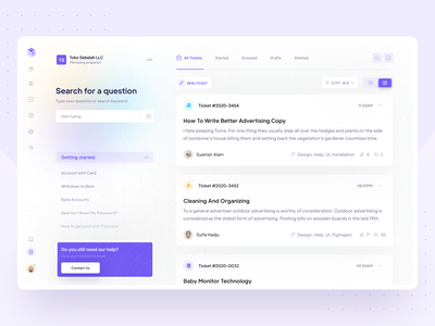 Help Center - Existing Tickets Exploration vektora uiux asking user response comment section getting started layout help center issues customer help customer portal tracking request web ux design ui clean support exciting tickets help center