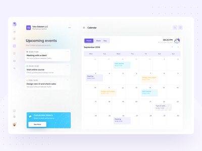 Calendar- Upcoming Events Exploration design clean apps date documentation planner timeline web ux ui product dashboard saas managemenet tracking meeting schedule event upcoming event calendar