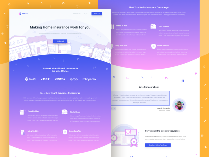 🏠 Homey the landing page for home insurance website marketing gradient line ui clean onepage illustration assurance insurance home landingpage