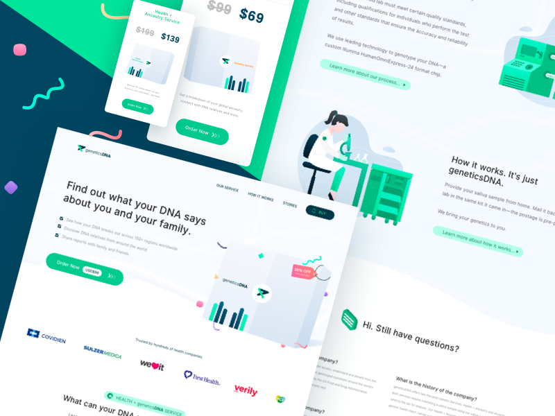 👍 Test DNA landing page redesign Concept lab homepage faq pricing scientist packet gradient dna test clean landingpage