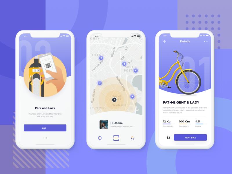 Apps Sharing Bike Exploration details illustration 3gps rent artificial intelligence lock parking startup navigation apps sharing bike