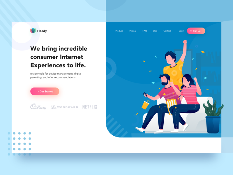 Consumer Internet Experiences to life Landing Page vector onboarding isometric dashboard noansa ux interface landing website consumer family home header ui gradient web landingpage design clean illustration