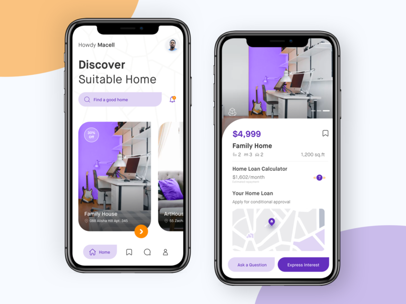 Real estate apps to find suitable home noansa card card checkout detail screen search bar app ios design clean ux ui house appartment property home suitable apps real estate estate real
