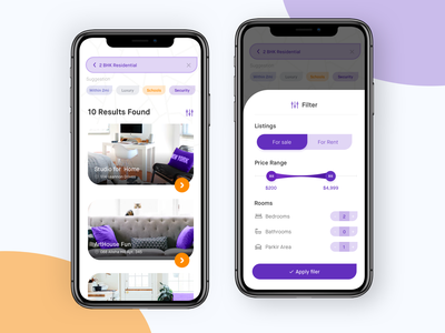 Real estate apps to find suitable home design app clean ui ux form bedrooms parkir area securiy found result noansa ios screen apply price range listings home filter search