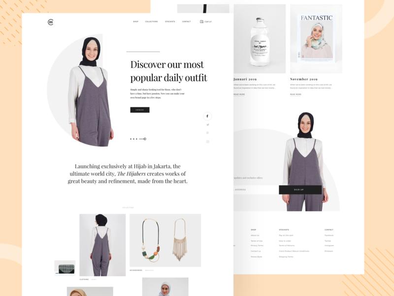 Women Muslim Fashion E-commerce landingpage white fantastic beautiful noansa ux web design dayli outfit accesories clean minimalis style syari hijab e-commerce fashion muslim women