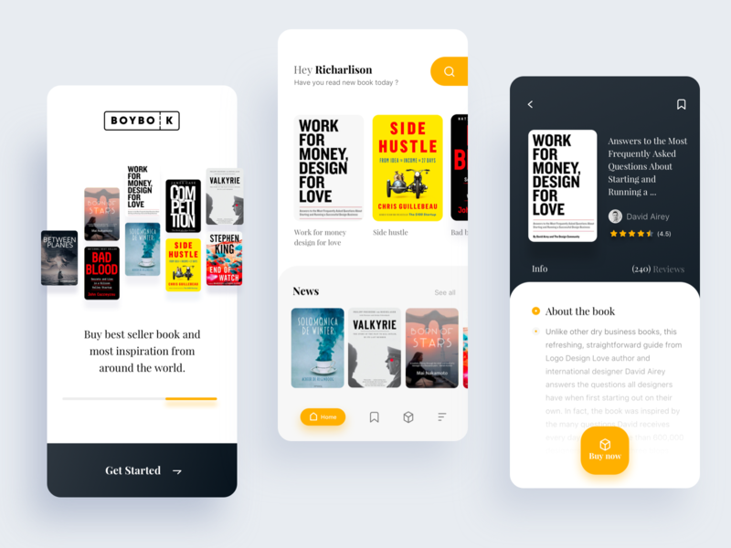 boybook apps for buy your favourite book article design started news check out about noansa book arts ios app ux book app serach clean ui onboarding home detailed buy article book