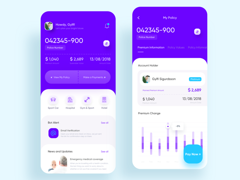 Insurance App for better life home clean financial protect information ios noansa fintech investment graph pay now policy card travel life health ux ui app insurance