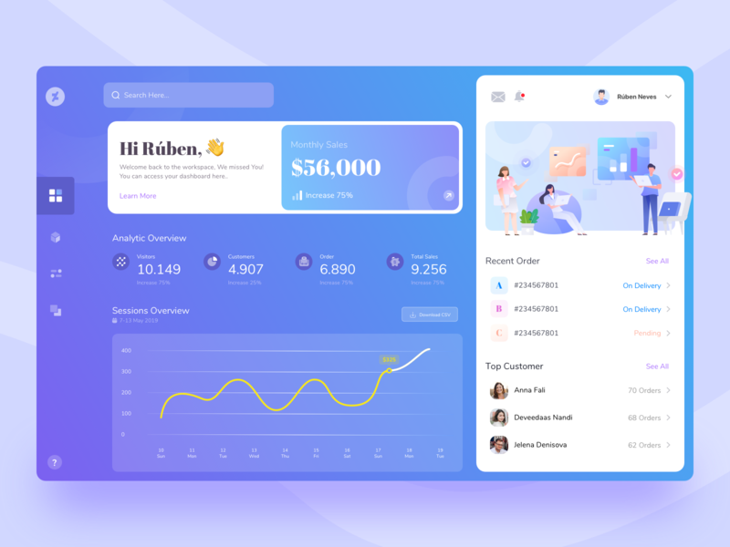 Dashboard E-commerce Online Store saas design profile search analytics graph gradient overview customer web desktop design ux increase total sales order customers visitors store dashboard