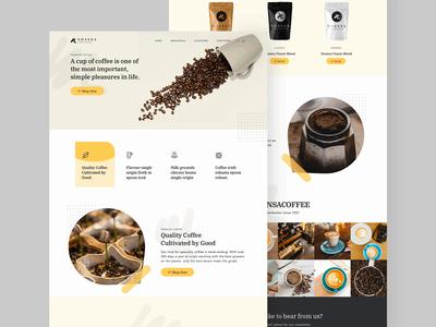 Noansa Coffe Shop Landing Page instagram header website home noansa ux animation product shop coffee landingpage design web