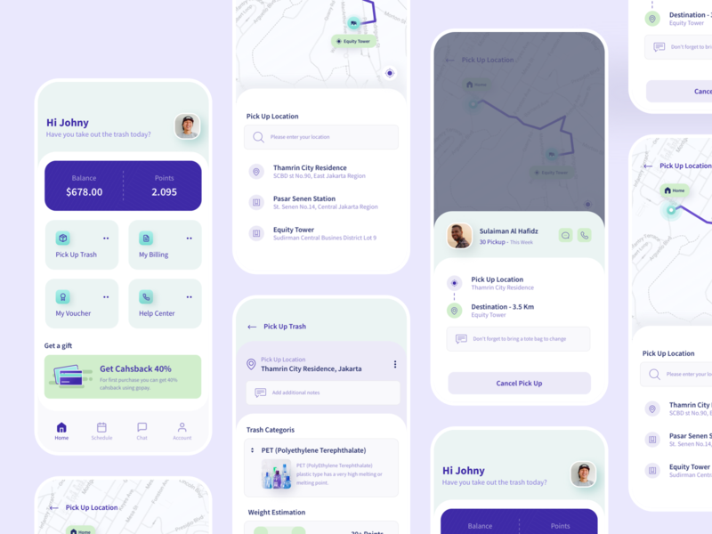 Go-trash | Trash Collecting App | Continue ux gradient clean uiux smarthome driver app noansa smart trash progress cancel pickup estimation take the tash navigation profile driver additional messages maps pickup driver pick up location