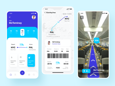 App Ticket Train Reservation AI Features ui mobile ui data and type checkin noansa mobile app booking depart arrive live direction artificial intelligence maps ai boarding pass train reservation ticket app app ui ux product design mobile