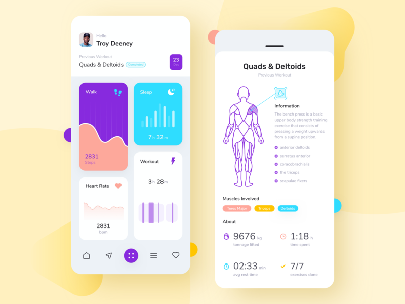 Workout App UI Concept ui ux design noansa apps exercises muscles yoga sport uiux training monitor fitness heart rate sleep walk workout