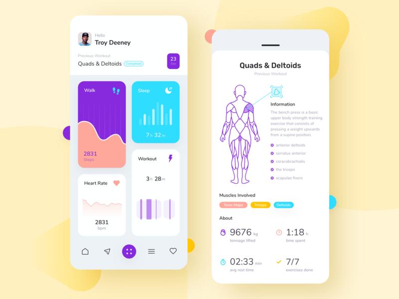 Workout App UI Concept ui ux design noansa apps exercises muscles yoga sport uiux training monitor fitness heart rate sleep walk workout
