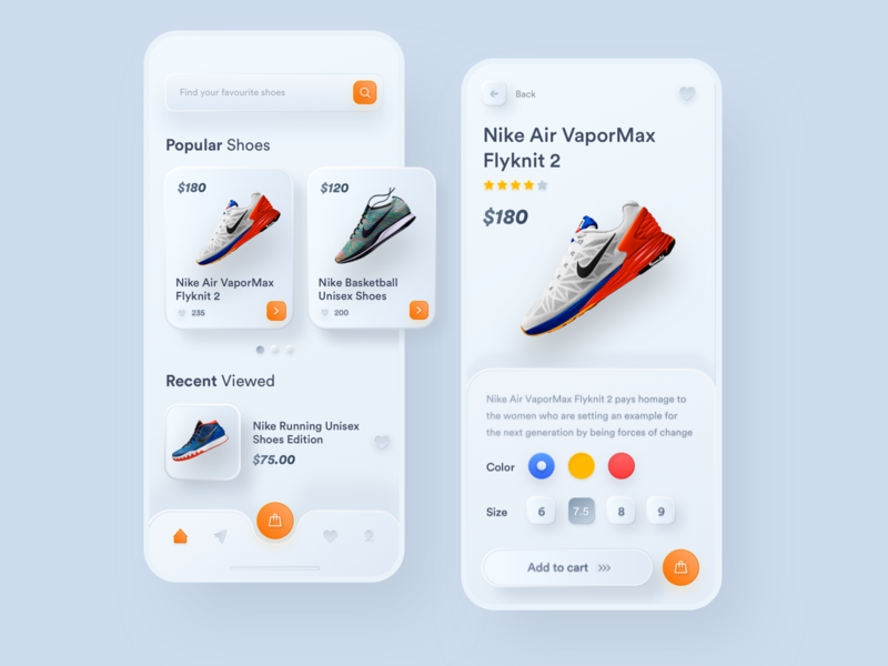 Nike Shoes E-Commerce - Neumorphism neumorphism sketch noansa inner shadow embossed mobile ios iphone design ui ux product design popular chart shadow card clean shoes nike clean skeumorphism