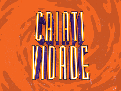 Criatividade texture vintage rustic swirl creativity bauru typography purple orange lettering type