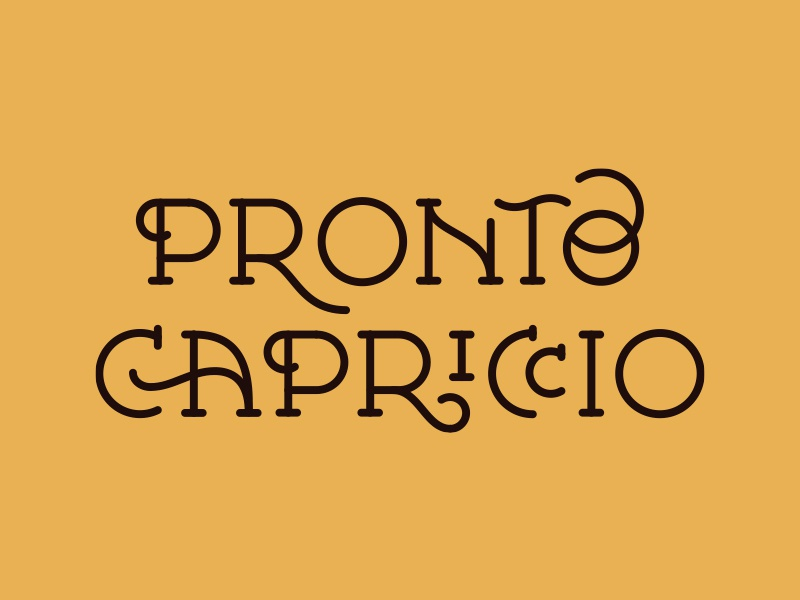 Pronto Capriccio brand typography lettering design logo restaurant food