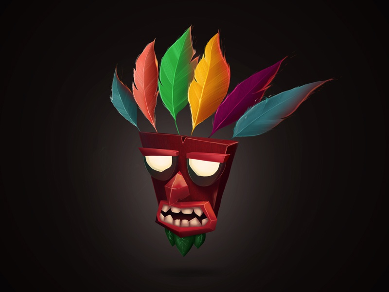 Aku Aku playstation mask feather painting icon illustration bandicoot crash