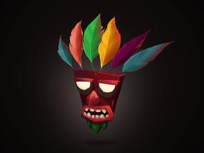 Aku Aku playstation mask feather painting icon illustration bandicoot crash