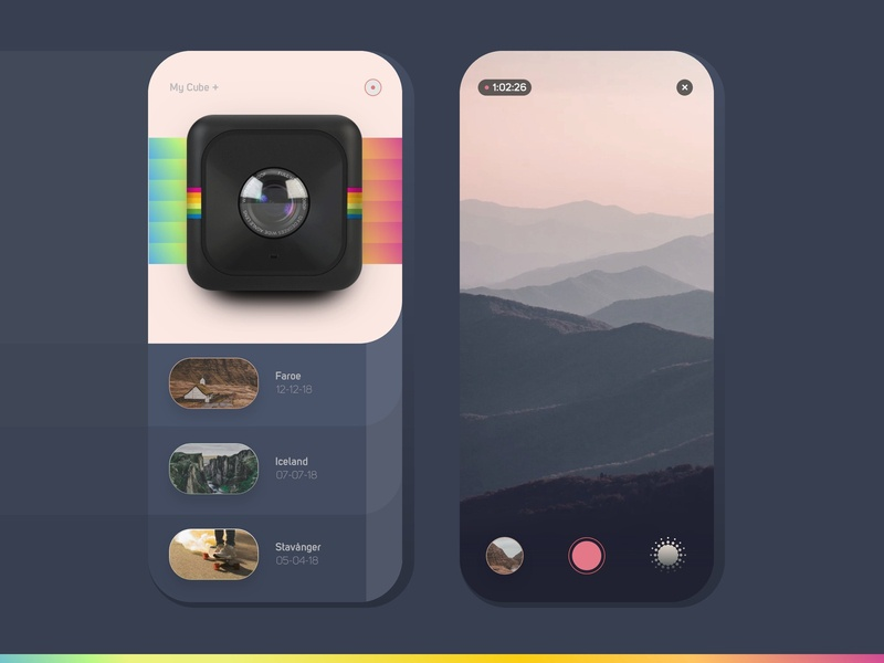 Polaroid Cube+ App Concept retro design camera photo app clean landscape gradient lomo polaroid retro dark ux mobile ui ios app