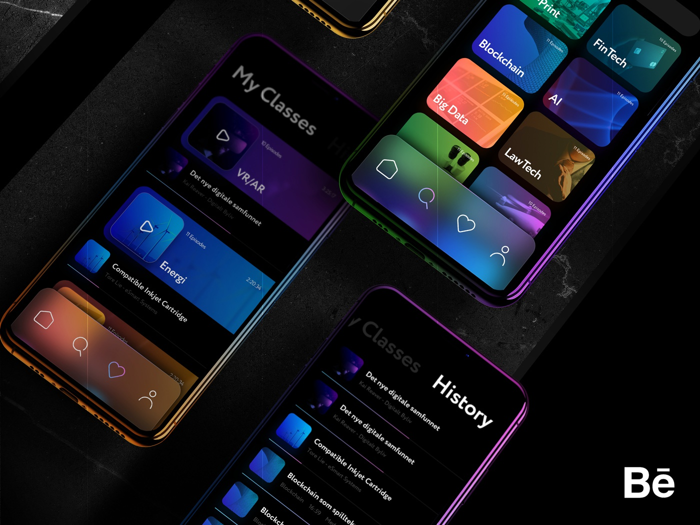 Lørn — New Behance Case Study spotify tech lms e-learning education podcasting podcast cards player mockup colors iphone dark ux mobile ios app ui