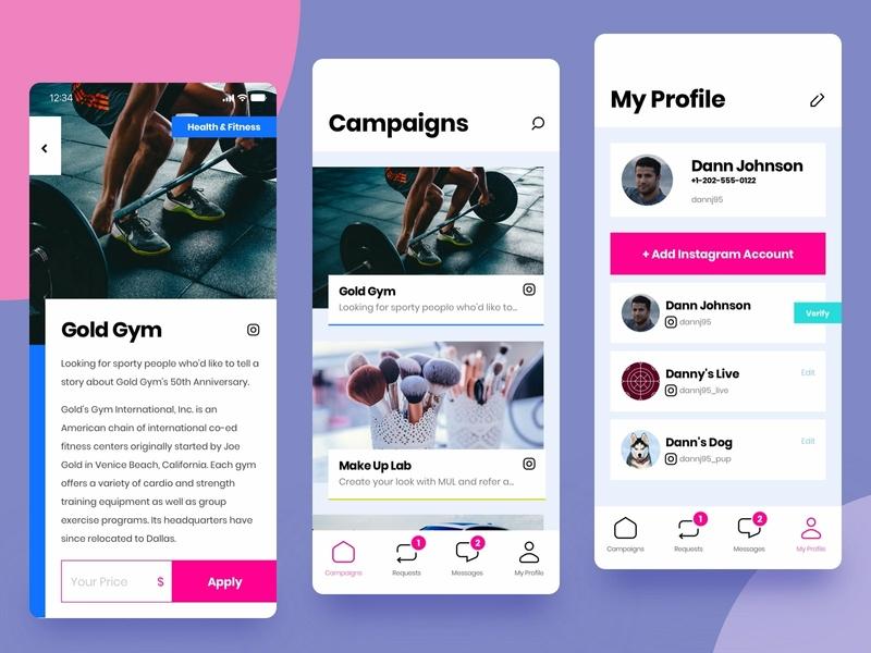 Influencer's App influence influencer media social instagram app minimal iphone clean ux mobile ios ui