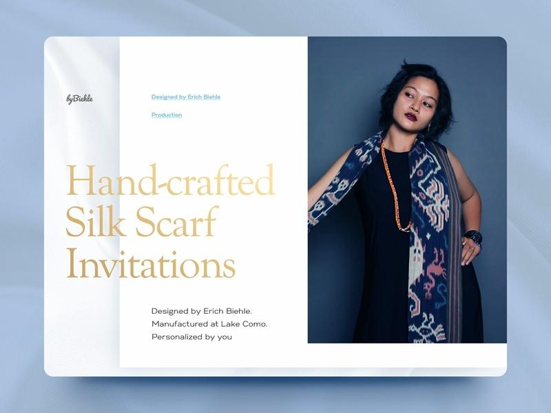 Wedding invitations website silk typogaphy designer fashion couture wedding landing website clean ui