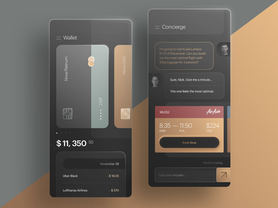 Nova Premium Wallet and Concierge Chat App transfer app mobile banking app mastercard chat app mobile banking ticket booking spendings history wallet app concierge card app bank app premium banking money transfer fintech fintech app product design