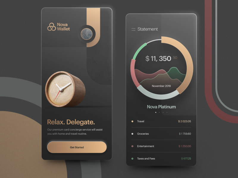Nova Wallet Onboarding and Spendings Tracking mobile app design fintech finance app banking app statement spendings tracker bank onboarding premium banking wallet app digital wallet personal finance mobile wallet money management finance tracking wealth management