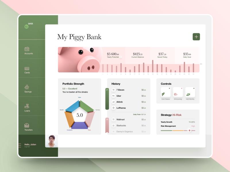 Piggy Bank Web App loans savings piggybank deposit money app spendings tracker credit card wealth management virtual payments fintech design bank app portfolio banking app product design banking finance app fintech