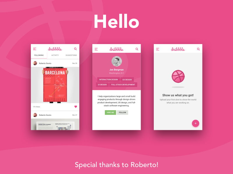 Hello Dribbble! pink mobile stream feed empty state profile hello introduction material design debut