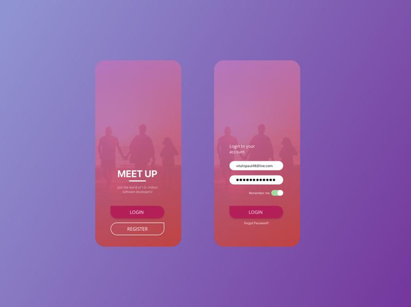 Meetup Login Concept ux ui app