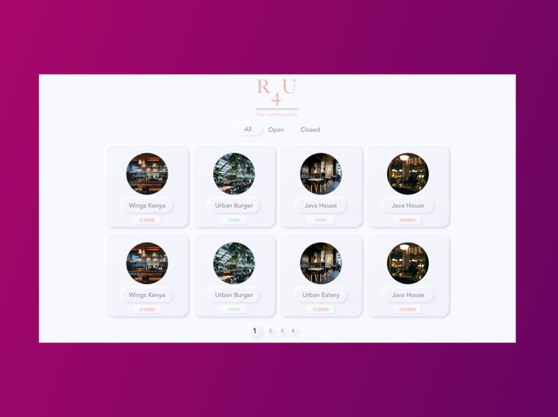 Restaurant App Web app ux ui