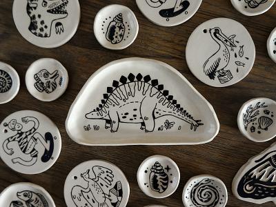 Ceramics dinosaurs animals illustrated blackandwhite linedrawing pottery clay ceramics drawing illustration