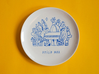 Handpainted Ceramic dish underglaze glaze ceramics character doodle linedrawing lettering handlettering drawing illustration