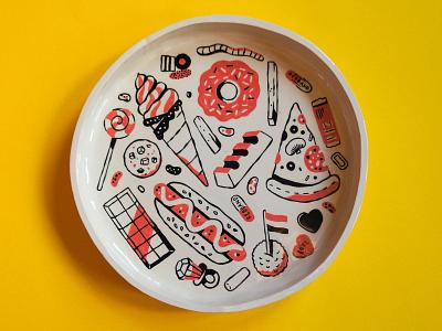 Handmade ceramic bowl pottery handmade handpainted painted glaze clay ceramics linedrawing drawing illustration