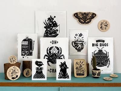 Prints & Ceramics maker webshop blackandwhite ceramics linoprint blockprint doodle lettering handlettering drawing illustration