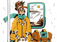 Trainride home illustration