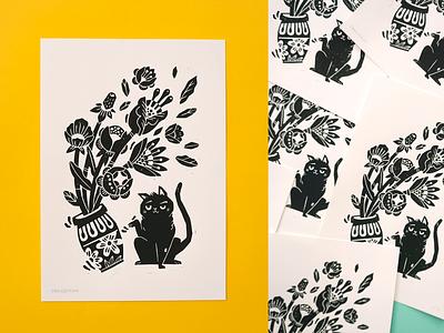 Hand pressed block print handpressed blackandwhite flowers cat handmade linoprint blockprint linedrawing amsterdam drawing illustration