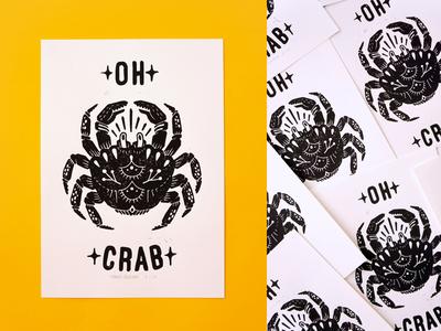 Hand pressed block print traditional black and white crab handmade linoprint blockprint lettering handlettering drawing illustration