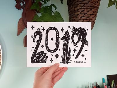 Happy Holidays stamp handmade type handmade doodle blockprint design amsterdam drawing lettering handlettering illustration