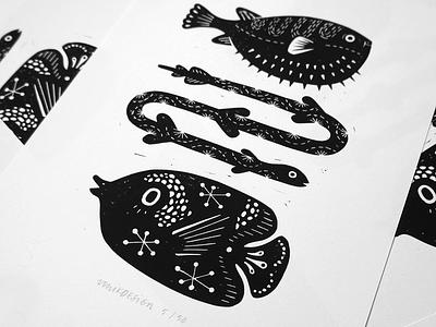 Linoleum print handmade blockprint linoleum drawing design amsterdam illustration