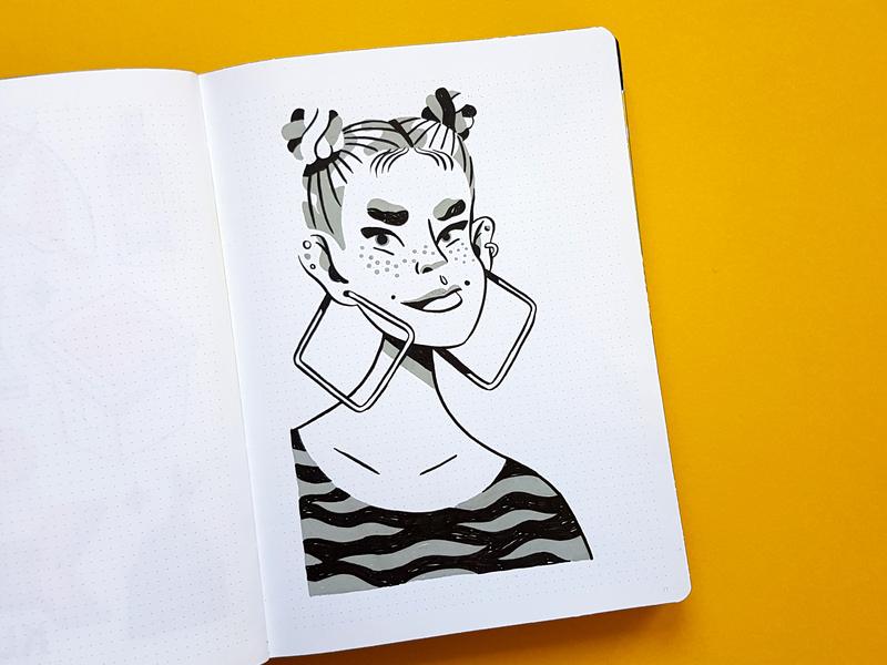 Big City Girls - Sketchbook brushpen molotow marker portrait girl sketchbook drawing illustration