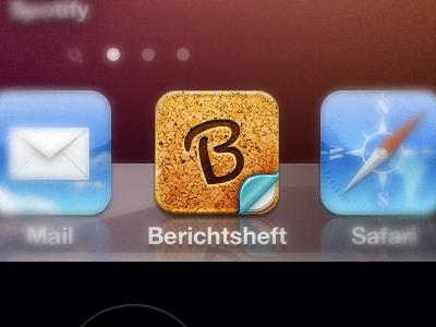 """Berichtsheft"" App Icon ios icon berichtsheft school reports cork paper shine letter curve"