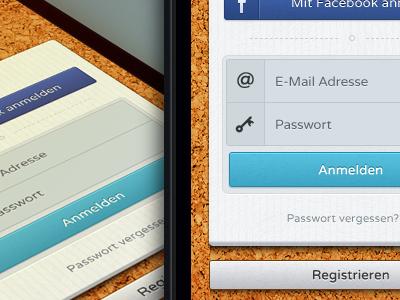 Login screen ios ui design interface ux email password buttons facebook cork paper