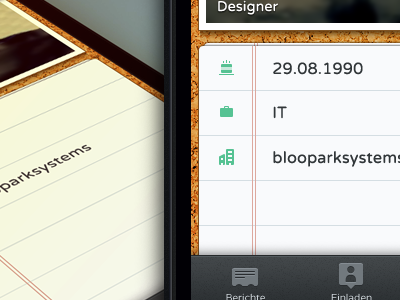 Profile view ios ui design interface ux buttons cork paper tableview photo tab bar
