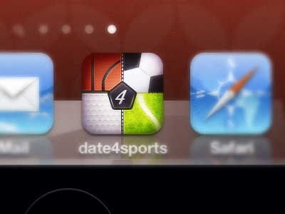 date4sports iOS Icon icon illustration app iphone sport tennis golf basketball soccer texture stitches client