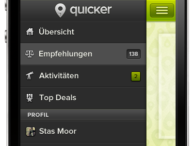 Concept mobile navigation client work search slider rejected simple pin shoe navigation icons profile