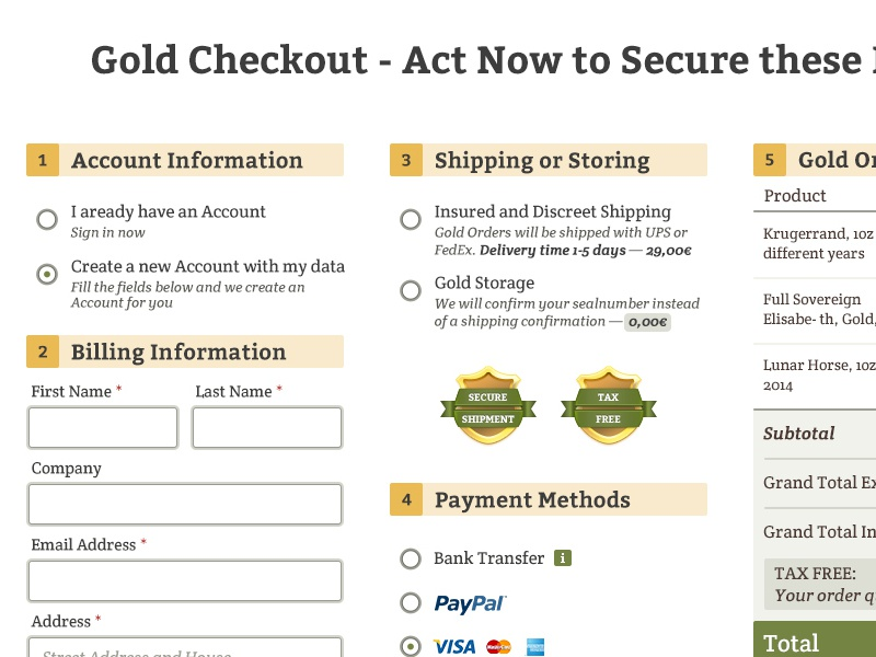 Gold checkout e-commerce magento shop checkout cart gold silver buy form